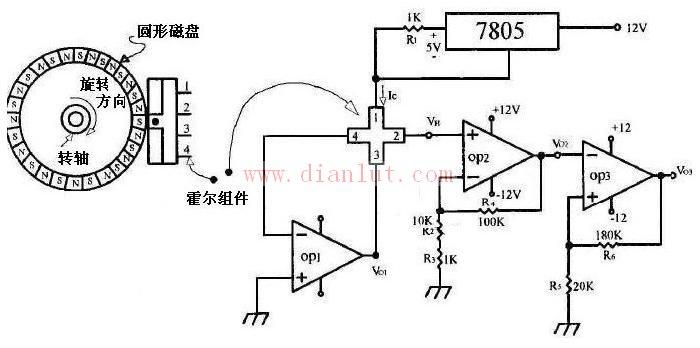 霍尔转速式传感器电路