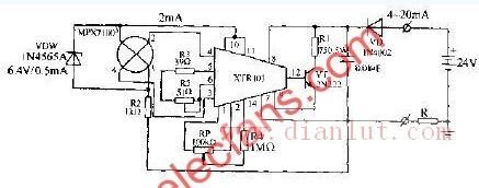 X型硅压力传感器的变送器电路图