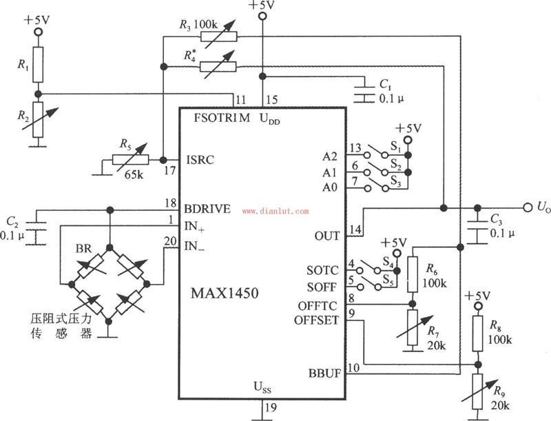 【图】基于max1450的压力信号调理电路电路图传感器
