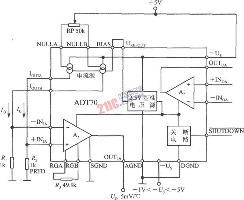 铂热电阻信号调理器内部电路框图及典型应用电路