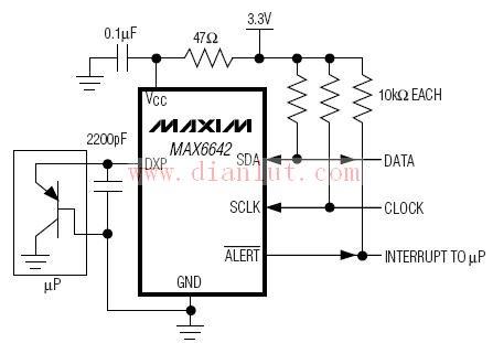 以MAX6642为基的MAXIM温度传感器电路