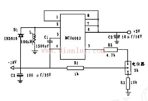 利用mc34063设计的液晶显示器负电源电路