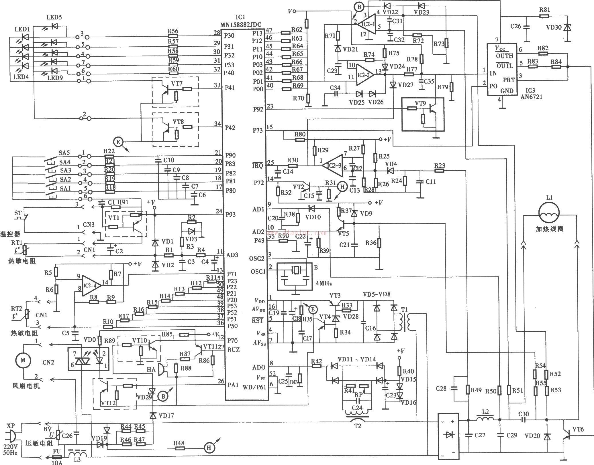由mn158882jdc设计的松下ky-p2n电磁炉电路原理图