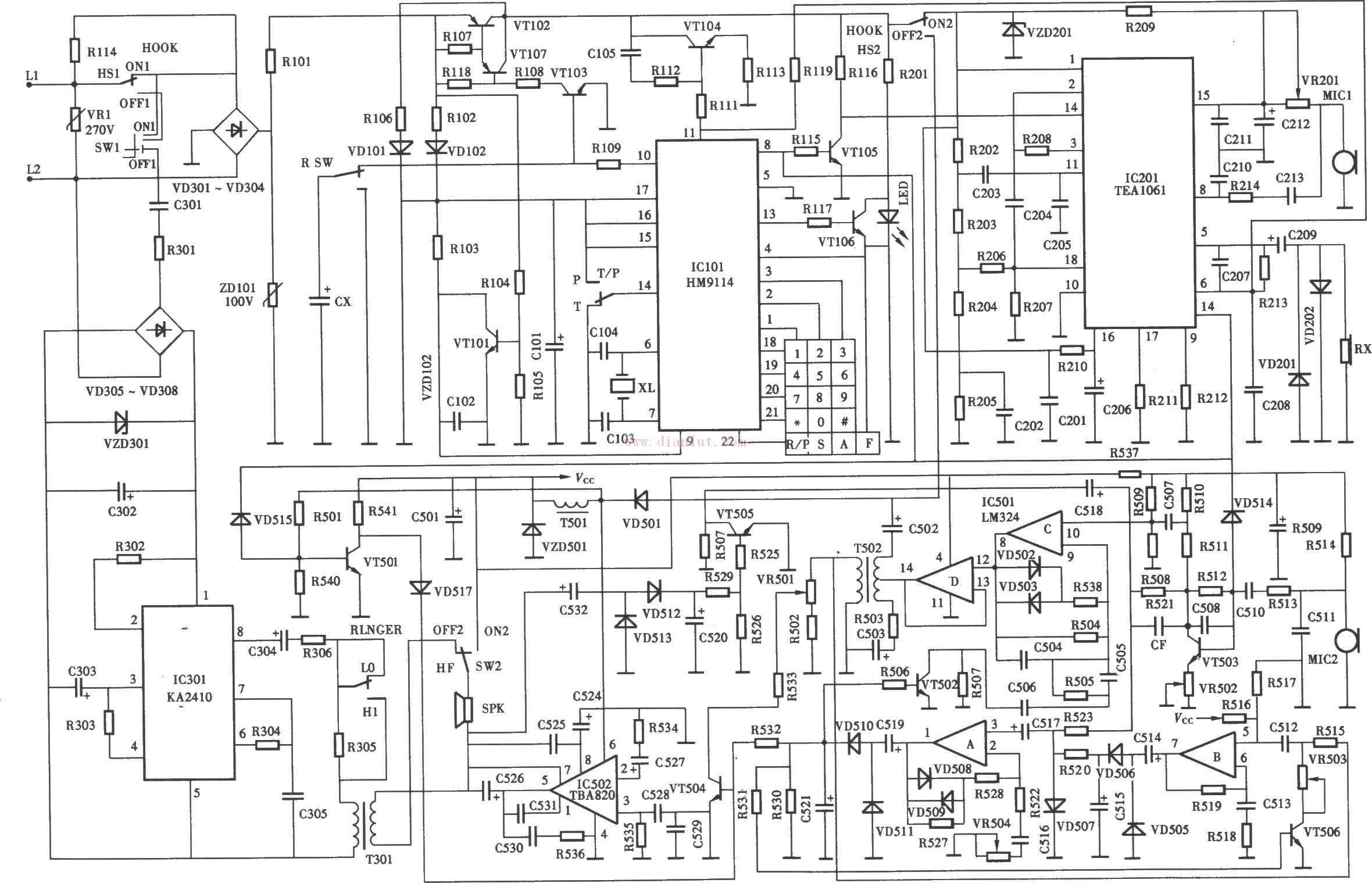 tcl电话机电路原理图