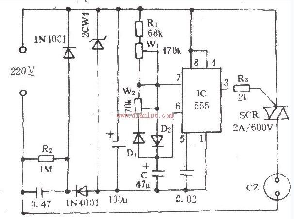 根据555设计的电风扇阵风电路