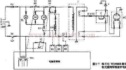 格兰仕wd900b数码控制式烧烤型微波炉电路原理图