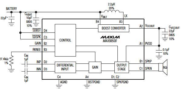 MAX98500组成的升压型扬声器放大器电路简介