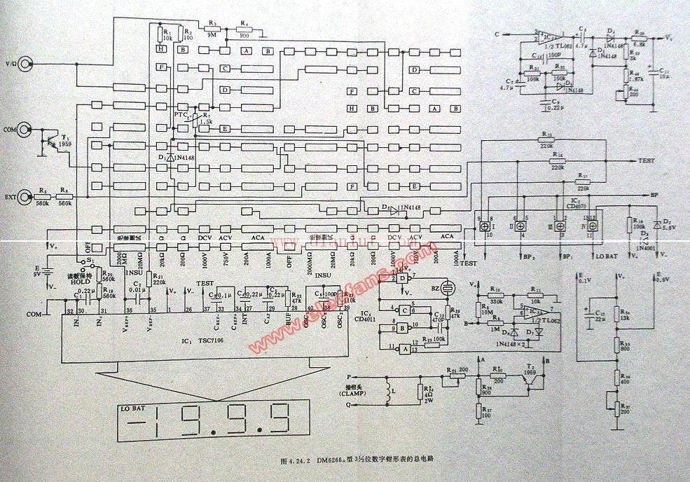 dm6266型数字钳形表电路原理图