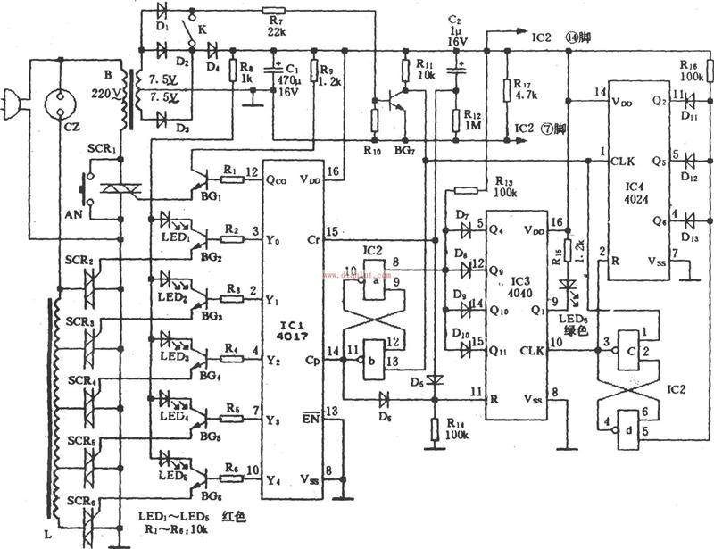 基于cd4017的电风扇睡眠风控电路