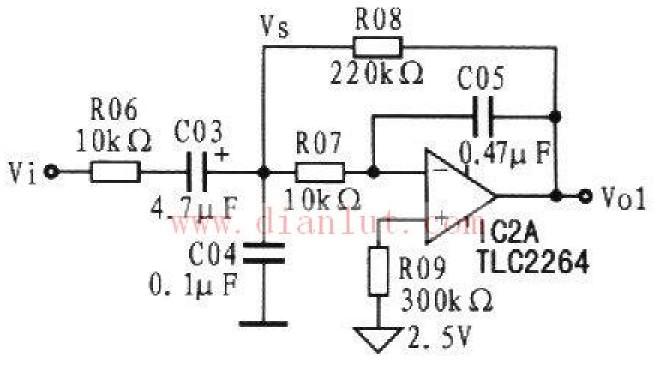 如图所示为脉搏信号放大电路,它按人体脉搏在运动后最高跳动次数达240次/分计算来设计低通放大器,它由IC2A和C04等组成,如图所示。转折频率由R07、C04、R08和C05决定,放大倍数由R08和R06的比值决定。 来源: