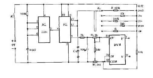 新型简易数字显示电容计电路