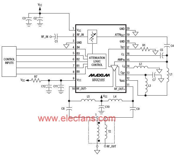 MAX2055应用电路(差分模数转换器(ADC)驱动器/放大器(DVGA))的应用