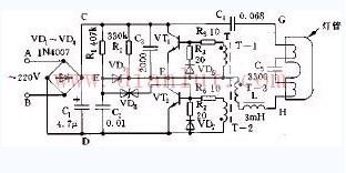 分立元件组成的节能灯电路图
