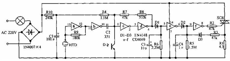 本电路介绍的是一种声、光双控节能开关,白天光纤较强,光敏管D受光导通,此时无论有无声音触发,IC的1脚为低电平,经c、d、e、f作用后,8脚为低电平,可控硅截止,灯泡不亮;夜晚,光敏管D呈高阻,电平比较器退出强制复位状态。此时,若有声音触发HTD,则经放大整形后,使1脚电平高于门限电平,电路翻转,对C3充电,使在声音消失后5脚能保持数十秒的高电平,8脚处于高电平触发可控硅导通,灯泡发亮。