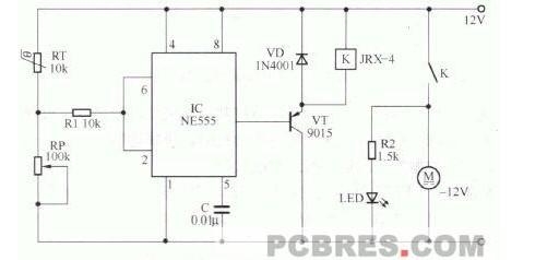 电路工作原理分析,电子装置通风散热自动控制电路由555电路组成,在这里,NE555 被连接成施密特工作方式。热敏电阻RT作为温度传感器,它和调节电位器RP串联后,将它们的分压点连接在施密特电路的信号输入端。施密特电路的输出端与电源之间连接控制继电器K,通过继电器控制一只散热通风的小型通风扇。当温度超过一定限度时,控制电路向动将通风扇启动,实现通风降温。电路的控制过程分街如下:热敏电阻RT 是一只负温度系数的热敏电阻,当温度升高时,它的阻值会降低;反之则阻值升高。在正常温度下,RT的阻值较高。通过RT