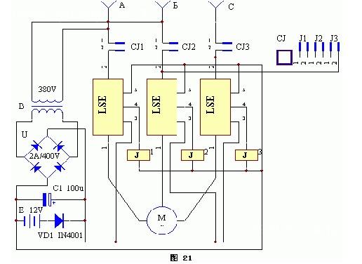 电动机缺相保护器简易电路