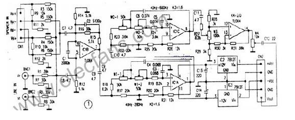 此低音电路具有适应面广、可调性强、选择性好、失真度低的特点,并可进行特性设置,与合适的扬声器系统配有源箱,适用于重低音重放。   图1所示的是低音处理电路。4个运算放大器IClB、IClA、IClC和IClD分别承担输入放大、窄频带滤波调节、宽频带滤波调节和倒相音量调节的功能。IClB输入放大电路对声源的LINE双声道线路输出和SPEAKER双声道扬声器功率输出分别在相叠加后进行同相放大和共模差分同相放大。扬声器输入端的电路结构不仅适合OCL功放输出,还适用于无接地端子的BTL功放输出。R16、C2和