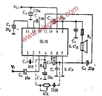 btl形式的sl38音频功率放大电路应用介绍-其它电路图