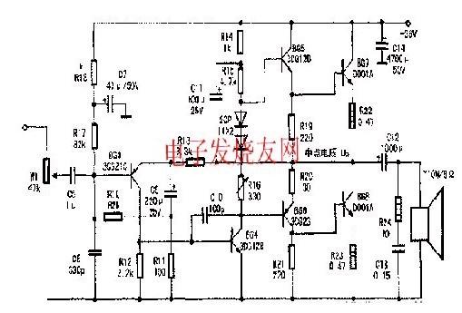 10W单声道OTL电路功放的检修电路图片