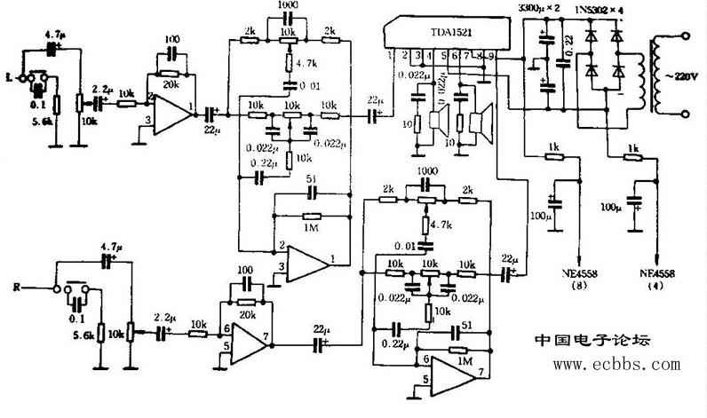 用tda1521组装的功率放大器电路简介