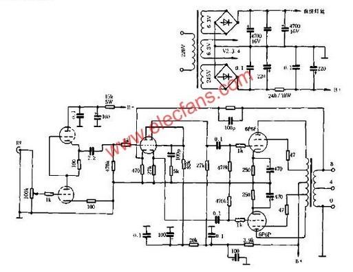 高品质10W超线性胆机电路原理