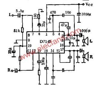 D7145双通道音频功率放大电路是一种静态功耗低,输出功率大,噪声低,失真小的新型单片集成电路。电路内部设有稳压电路,可自动设定工作点。电源电压及负载阻抗范围宽,电源通断时瞬时噪声小,通道间分离度读好。当Vcc=16V时,可输出27.5W的音频功率(RL=4),当电路结成单通道BTL方式时,Vcc=16V,可输出15.