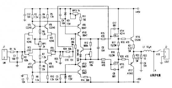 9v,此电压作为功率输出级vt16, vt17基极偏置电压,将a1943/c5200静态