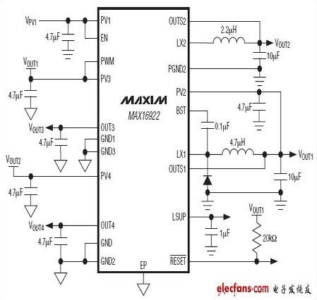 【图】max16922应用电路的用例其它电路图