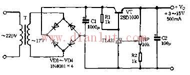 由TL431构成的串联稳压器电路