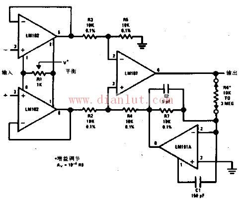可变增益的差分输入仪器用放大器电路原理图