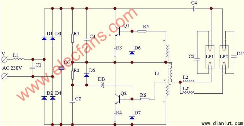 【图】双管电子整流器电路原理图电源电路