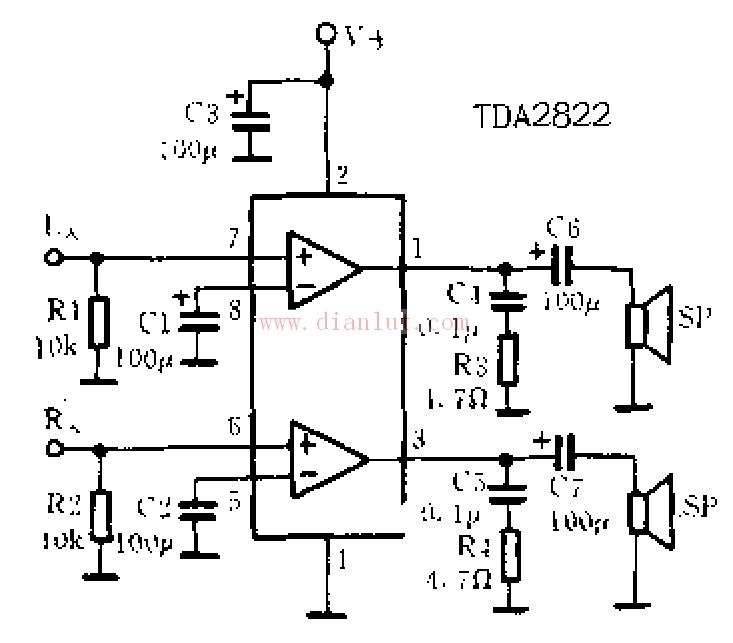 关于tda2822应用电路图的相关介绍