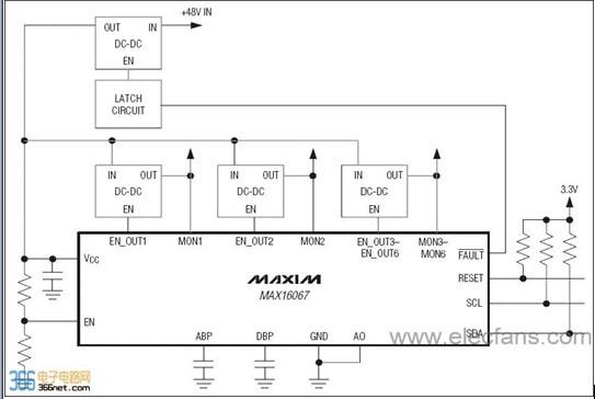 MAX16067闪存可配置系统管理器能够对多个系统电压进行监测和排序。MAX16067可以同时管理6路系统电压。MAX16067集成了模/数转换器(ADC)以及可配置的顺序供电输出。包括过压门限、欠压门限、延迟时间设置以及排序在内的所有器件配置信息均存储在非易失闪存存储器内(存储器是计算机系统中的记忆设备,用来存放程序和数据。计算机中全部信息,包括输入的原始数据、计算机程序、中间运行结果和最终运行结果都保存在存储器中)。出现故障时,故障标志和通道电压可自动存储到非易失闪存存储器,以便回读。   内部精