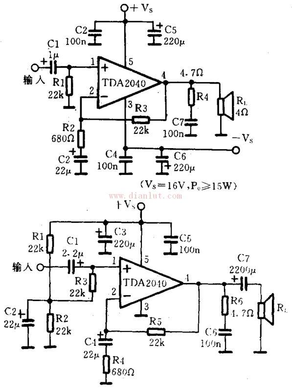 简述关于TDA2040电路图与TDA2040功率放大电路的相关情况