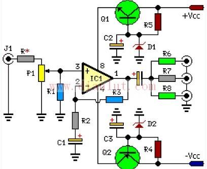 三通道音频分配器的电路