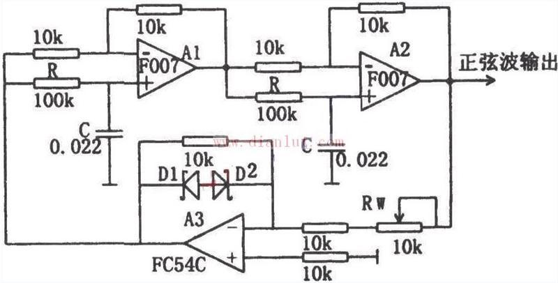 有源相移振荡器 F007 电路图片