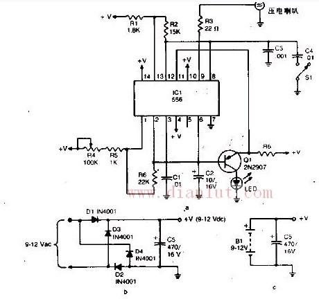 光电电路 >> 超声波驱蚊器的原理电路    该装置能发射超声波,其频率