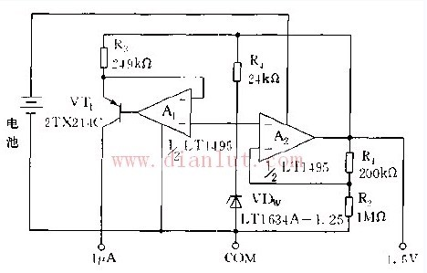 采用LT1495运放构成的参考基准源电路